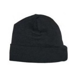 "Black Rib Knit Beanie ""Baby's First Cap"""