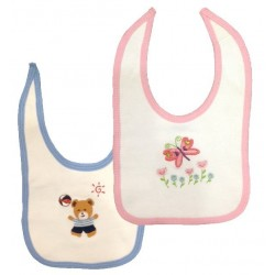 2-Ply Interlock White With Pink or Blue Trim Infant Bib