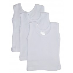 Rib Knit White Sleeveless Tank Top Shirt 3-Pack