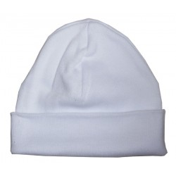 "White Rib Knit Beanie ""Baby's First Cap"""