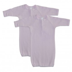 Preemie Girl's Rib Knit Gown Solid Color 2-Pack
