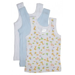 Boy's Rib Knit Print Sleeveless Tank Top Shirt 3-Pack
