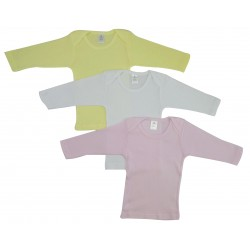 Girl's Rib Knit Pastel Long Sleeve T-Shirt 3-Pack