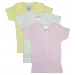 Girl's Rib Knit Pastel Short Sleeve T-Shirt 3-Pack
