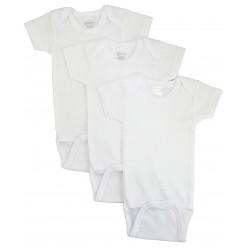 Rib Knit White Short Sleeve Onezie 3-Pack