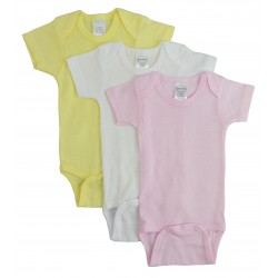 Girl's Rib Knit Pastel Short Sleeve Onezie 3-Pack