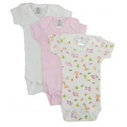 Preemie Girl's Rib Knit Variety Short Sleeve Onezie 3-Pack