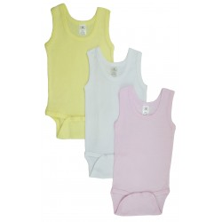 Girl's Rib Knit Pastel Sleeveless Tank Top Onezie 3-Pack