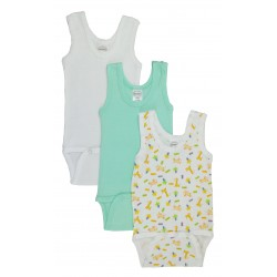 Boy's Rib Knit Variety Sleeveless Tank Top Onezie 3-Pack