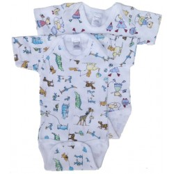 Boy's Interlock Print Short Sleeve Onezie 2-Pack