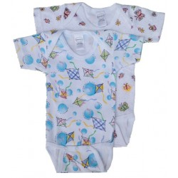 Girl's Interlock Print Short Sleeve Onezie 2-Pack